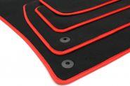 Fußmatten Seat Leon 5F Leon ST ab 2012 Velours Original Qualität Autoteppich 4-teilig schwarz/rot