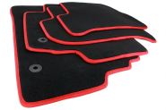 Fussmatten Seat Leon 1P Velours Original Qualität Autoteppich GTI R 4-teilig schwarz/rot Original Befestigung