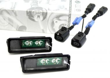 Original VW LED Kennzeichenleuchten + Widerstands Adapter Golf 4 5 6 7 Cabrio Polo Eos Passat / CC Scirocco GTI