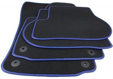 Fußmatten VW Golf 5 6 Jetta Scirocco Original Qualität Matten Velours Blue Motion Echtleder Einfassband Autoteppiche 4-teilig schwarz/blau .
