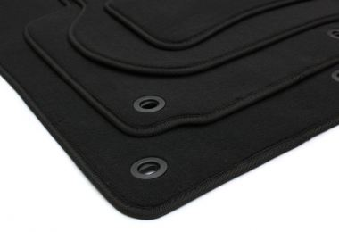Fußmatten Skoda Octavia II 1Z + RS Velours Original Qualität Autoteppich Stoffmatten 4-teilig schwarz Drehknebel oval