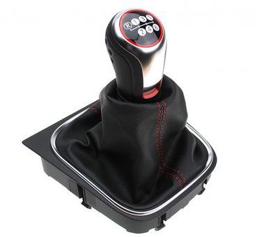 Original VW GTI Golfball Schaltknauf Schalthebel Golf 5 6 Jetta Scirocco Eos Leder schwarz/rot Schaltgetriebe 6-Gang