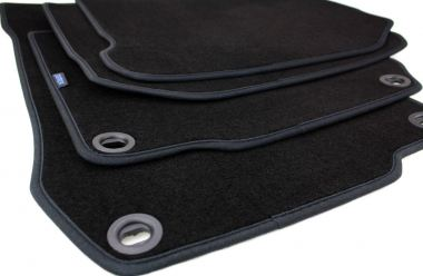 Fußmatten VW Golf 4 Bora Beetle Velours Original Qualität Autoteppich Drehknebel oval 4-teilig schwarz