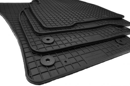 Gummimatten passend für VW Touran 5T ab 2015 Premium Qualität Fußmatten Gummi Allwetter Matten 4-teilig schwarz Druckknopf rund