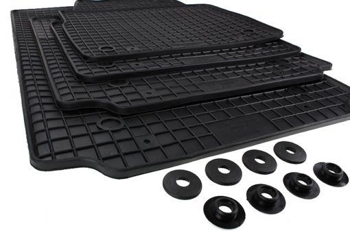 Gummimatten passend für Audi A2 8Z Fußmatten Gummi Premium Qualität Auto Allwetter 4-teilig schwarz Druckknopf rund