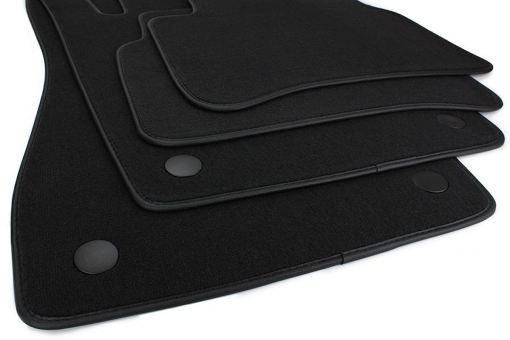 Fussmatten passend für Mercedes E-Klasse W211 S211 Velours Premium Qualität Autoteppich Leder Rand 4-teilig schwarz