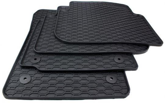 Gummimatten passend für VW Caddy 2K Fussmatten Gummi Premium Qualität Auto Allwetter 4-teilig schwarz Kegel rund Drehknebel oval