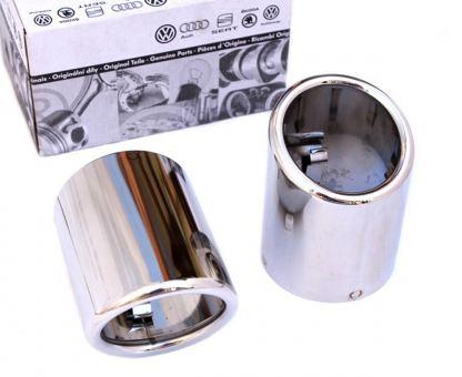 Original Endrohrblenden für Skoda Yeti edelstahl Auspuffblenden 60mm auch passend für Golf 6 Doppelendrohr Blende