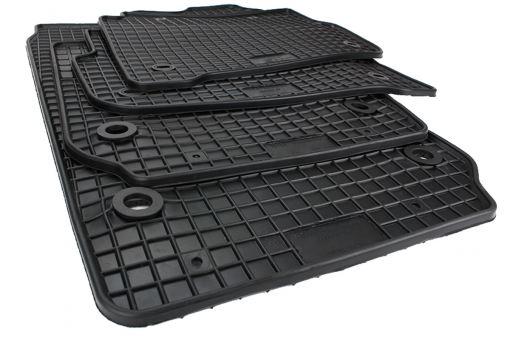 Gummimatten passend für VW Polo 9N + Polo Cross Fußmatten Premium Qualität Allwetter Matten 4-teilig schwarz Drehknebel oval
