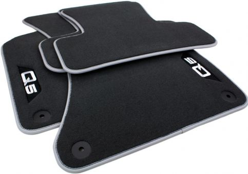 Fußmatten für Audi Q5 8R SQ5 Premium Velours Textil Autoteppiche Nubuk silber 4-teilig