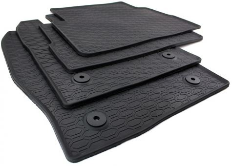 Gummimatten passend für Ford Kuga II ab 2013 Fußmatten Gummi Premium Qualität Auto Allwetter 4-teilig schwarz rund Druckknopf