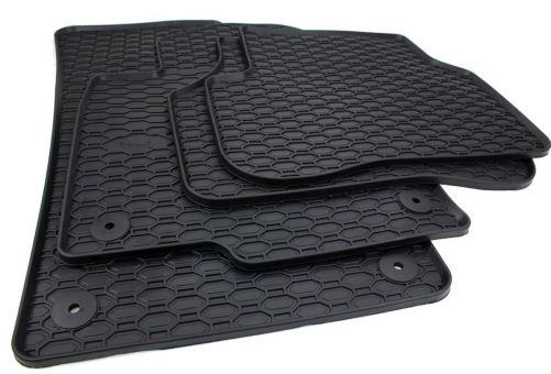 Gummifussmatten passend für VW Golf 5 6 + Variant Scirocco Jetta Fußmatten Gummi Premium Qualität 4-teilig Druckknopf rund schwarz
