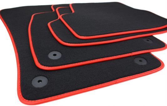 Fussmatten passend für VW Golf 7 VII Velours Premium Qualität Autoteppich Leder Einfassung 4-teilig schwarz/rot