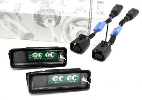 Original VW LED Kennzeichenleuchten + Widerstands Adapter Golf 4 5 6 7 Cabrio Polo Eos Passat / CC Scirocco