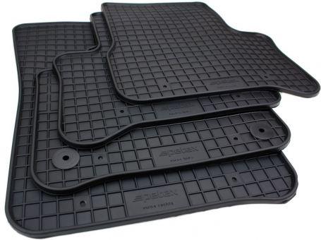 Gummimatten passend für Skoda Citigo-e i.V. ab 05/2019 Fussmatten Premium Qualität Allwetter Matten 4-teilig schwarz Druckknopf rund