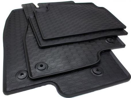 Gummifussmatten passend für Mazda 3 ab 2013 Mazda 6 Kombi ab 2012 Fußmatten Gummi Premium Qualität Auto Allwetter 4-teilig schwarz rund Druckknopf