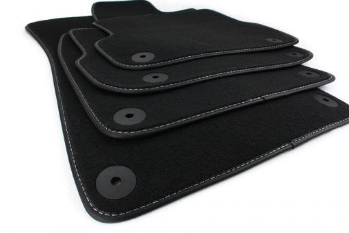 Fußmatten passend für Audi A6 4F C6 Velours Allroad in Premium Qualität Matten Leder Band Teppiche schwarz/silber 4-teilig ab 03/2006