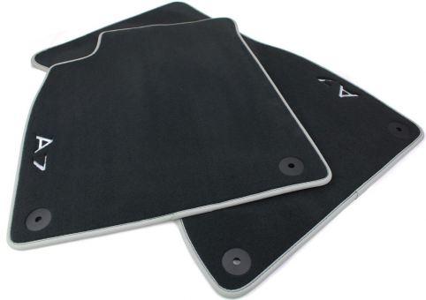 Fußmatten für  Audi A7 4G Premium Velours Textil S7 Autoteppiche Nubuk silber 2-teilig vorne
