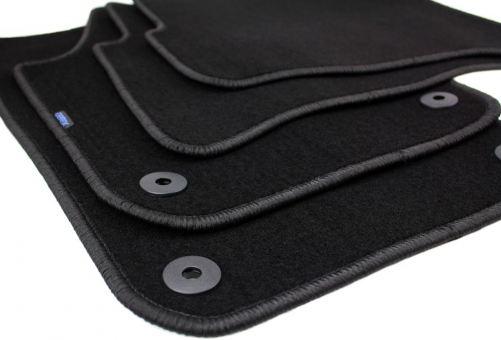 Fußmatten passend für VW Polo 9N Velours Premium Qualität Autoteppich 4-teilig schwarz Druckknopf rund