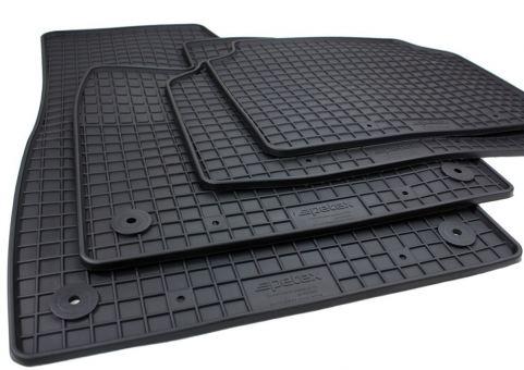 Gummimatten passend für Skoda Enyaq i.V. (5A) ab 03/2021 Fussmatten Premium Qualität Allwetter Matten 4-teilig schwarz Druckknopf rund