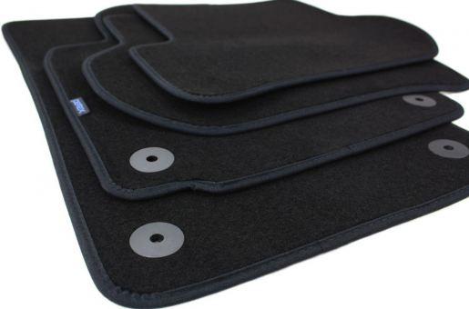 Fußmatten passend für Skoda Octavia II 1Z Velours Premium Qualität Autoteppich Stoffmatten 4-teilig schwarz Druckknopf rund