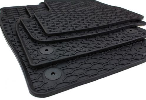 Gummimatten passend für VW Polo VI (AW) ab 2017, T-Cross C1 Fussmatten Gummi Premium Qualität Allwetter 4-teilig schwarz Druckknopf rund