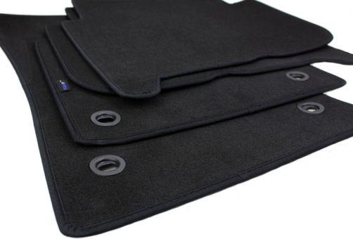Fußmatten passend für VW Touran 1T Velours Premium Qualität Autoteppich 4-teilig schwarz Drehknebel oval