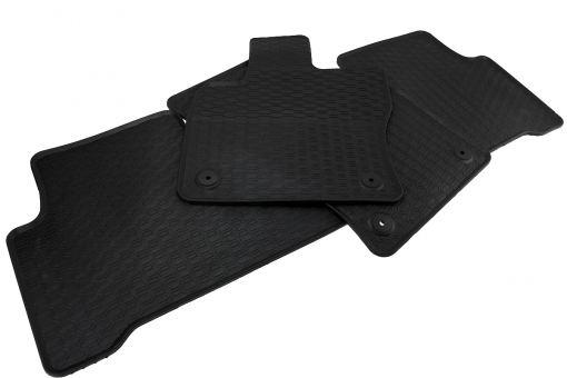 Waben Gummimatten passend für VW Touran 5T ab 2015 Premium Qualität Fußmatten Gummi Allwetter Matten 3-teilig schwarz Druckknopf rund
