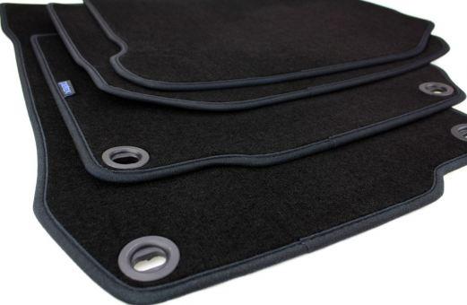 Fußmatten passend für VW Golf 4 Bora Beetle Velours Premium Qualität Autoteppich Drehknebel oval 4-teilig schwarz