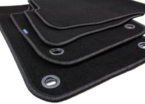 Fussmatten passend für VW Polo 9N Velours Premium Qualität Autoteppich 4-teilig vorn + hinten oval Drehknebel