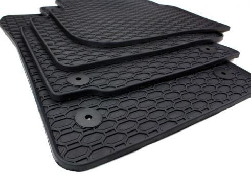Gummimatten passend für VW Touran 1T Qualität Fußmatten Gummi Allwetter Matten 4-teilig schwarz Druckknopf rund