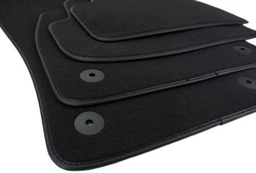 Fußmatten passend für VW Passat 3G + Alltrack Velours Premium Qualität Autoteppich Leder Einfassband 4-teilig schwarz
