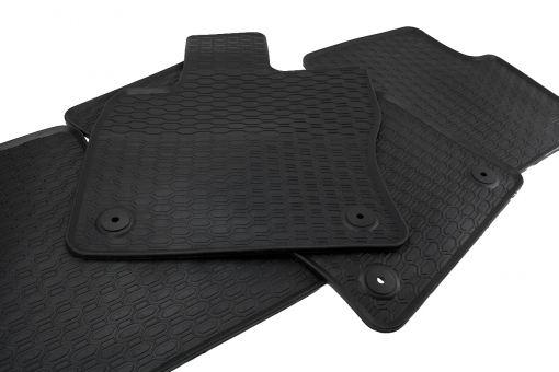 Waben Gummimatten passend für VW Touran 5T ab 2015 Qualität Fußmatten Gummi Allwetter Matten 3-teilig schwarz Druckknopf rund