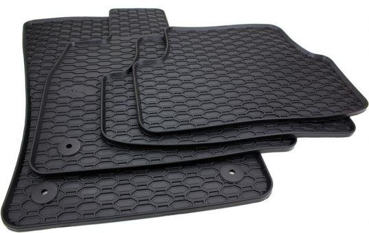 Waben Gummimatten passend für Skoda Superb III 3V Fußmatten Gummi Auto Allwetter schwarz rund Limousine Combi