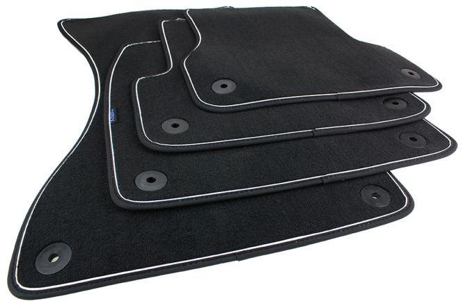 Fußmatten Audi A6 A7 4G / Allroad Velours S-Line Original Qualität Autoteppiche Nubuk schwarz/weiß 4-teilig