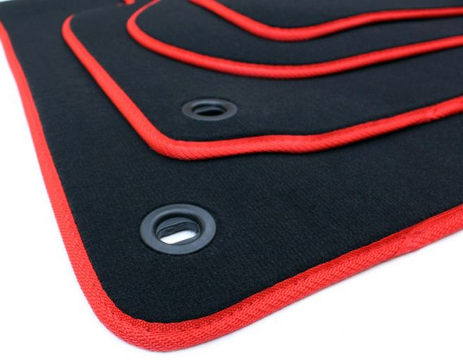 Fußmatten VW GTI Golf 5 6 Variant Jetta Scirocco Velours Original Qualität Autoteppich schwarz/rot 4-teilig Drehknebel oval