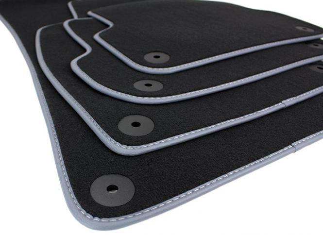 Audi A4 8E Fußmatten B6 B7 S-line Original Qualität Velours Seat Exeo 3R Autoteppich Lederband schwarz/grau