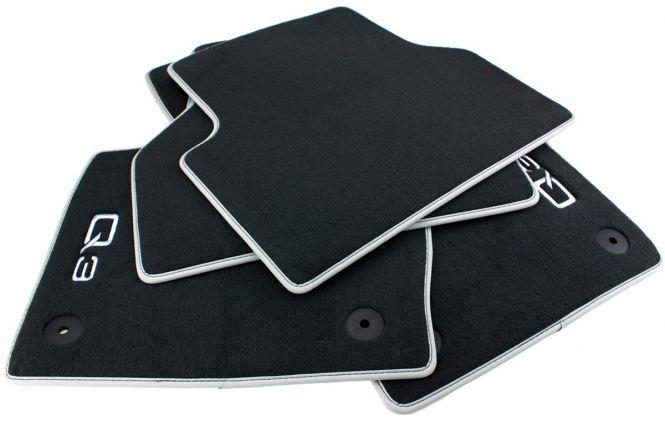 Original Audi Fußmatten Q3 SQ3 8U Premium Velours S-Line Textil Autoteppiche Nubuk silber 4-teilig
