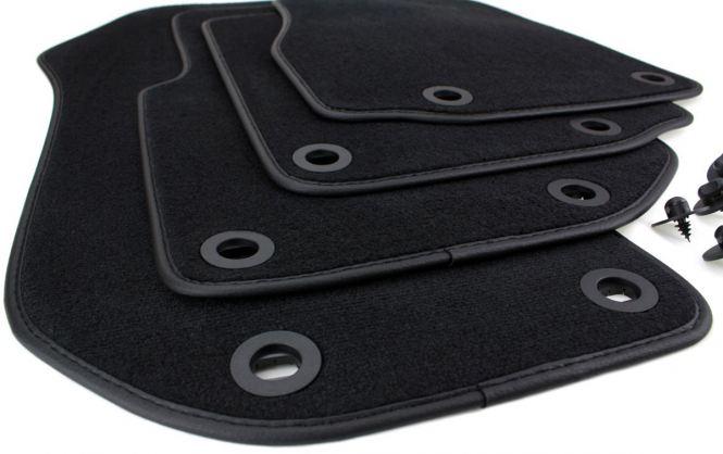 Fußmatten BMW 3er E36 Cabriolet Velours Original Qualität Lederrand M3 Autoteppiche Stoffmatten schwarz 4-teilig