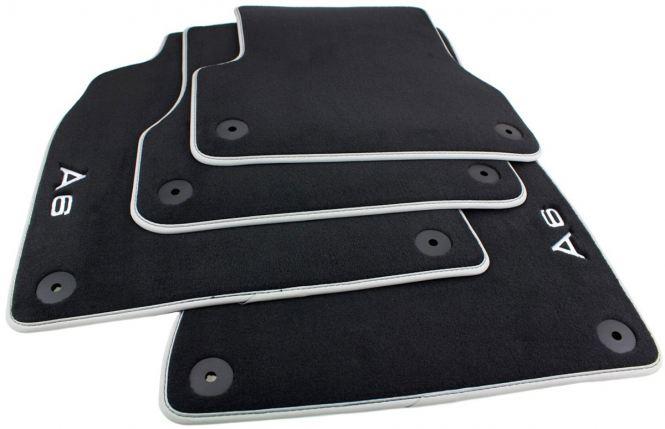 Original Audi Fußmatten A6 A7 4G / Allroad Premium Velours S-Line Textil Autoteppiche Nubuk silber 4-teilig