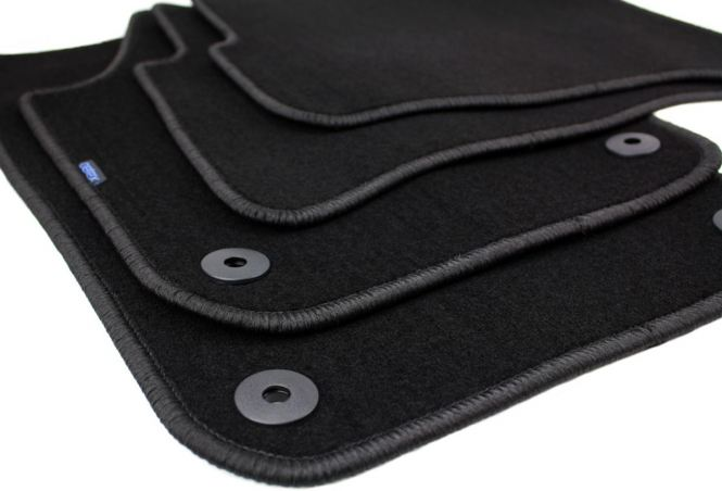 Fußmatten VW Polo 9N + GTI Velours Original Qualität Autoteppich 4-teilig schwarz Druckknopf rund