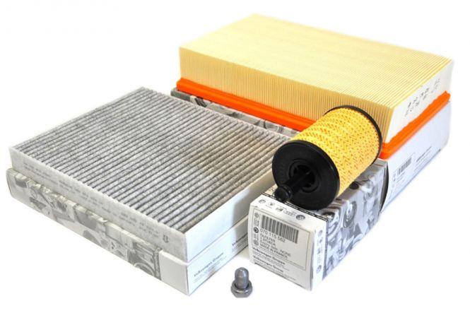 Original VW Teile Touareg 7L 2.5L R5 TDI Motor Filter Inspektionspaket 3-teilig Service KIT Öl Luft Pollenfilter
